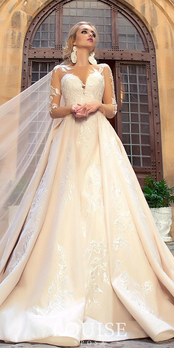 louise sposa wedding dresses sweetheart with long sleeves sweetheart lace embellishment blush 2018