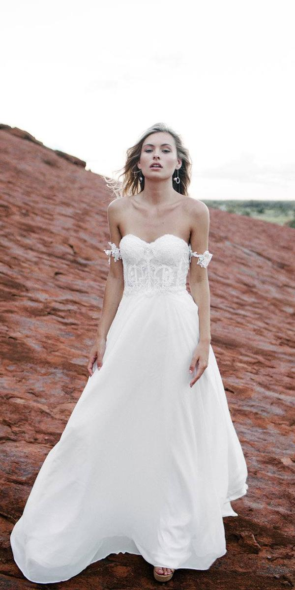 made with love wedding dresses a line off the shoulder strapless rustic 2018