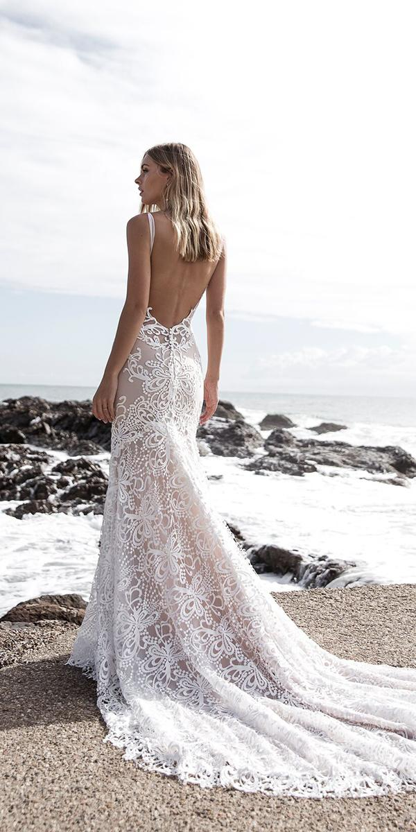 mermaid low back lace wedding dresses 2018 for beach made with love