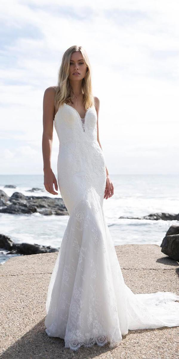 made with love wedding dresses mermaid with spaghetti straps lace beach