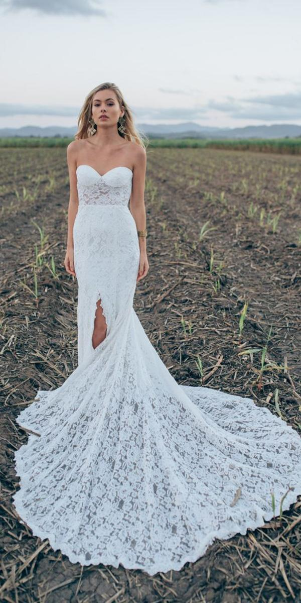 made with love wedding dresses sheath strapless lace beach with train 2018