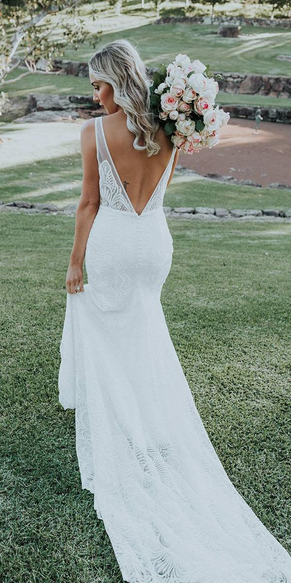 made with love wedding dresses v back lace for beach 2018