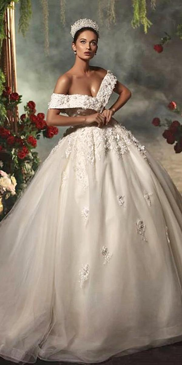 off the shoulder lace ball gown princess wedding dresses endritmertiri