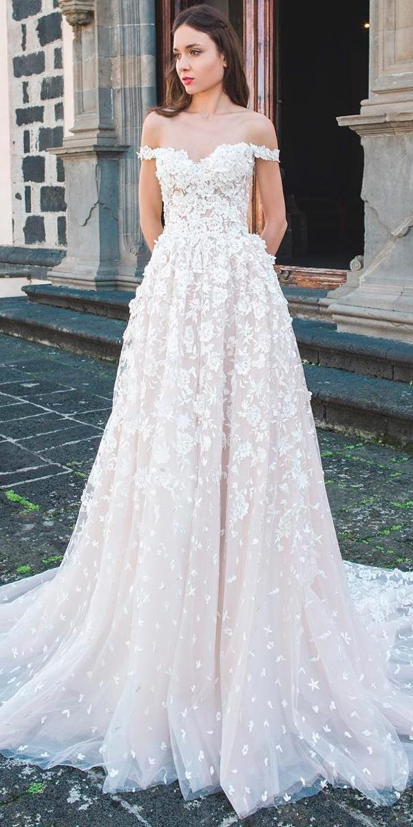 princess wedding dresses a line sweetheart neck off the shoulder floral applique oksana mukha official