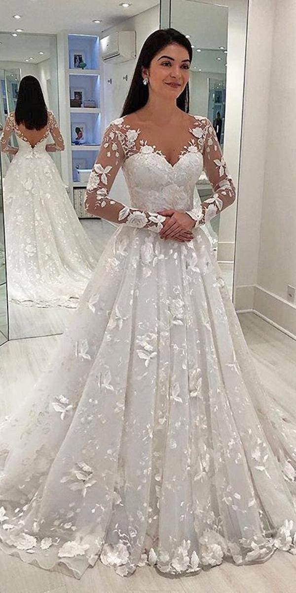 princess wedding dresses a line v neck illusion sweetheart neck long lace sleeves isabella narchi