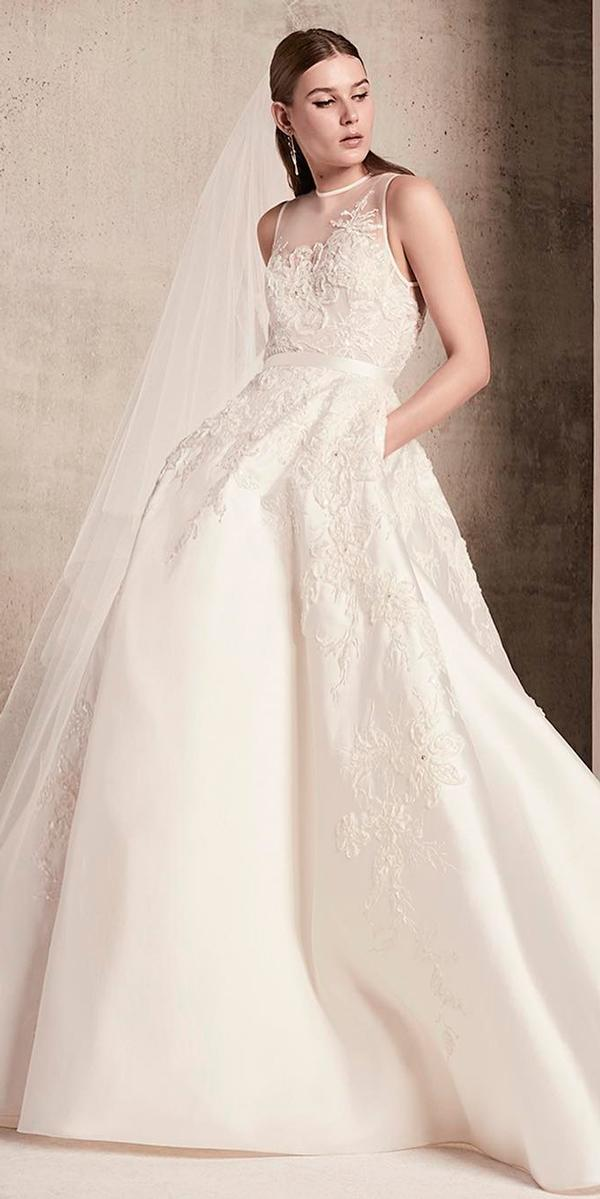 princess wedding dresses ball gown lace illusion neckline sleeveless with side pockets elie saab