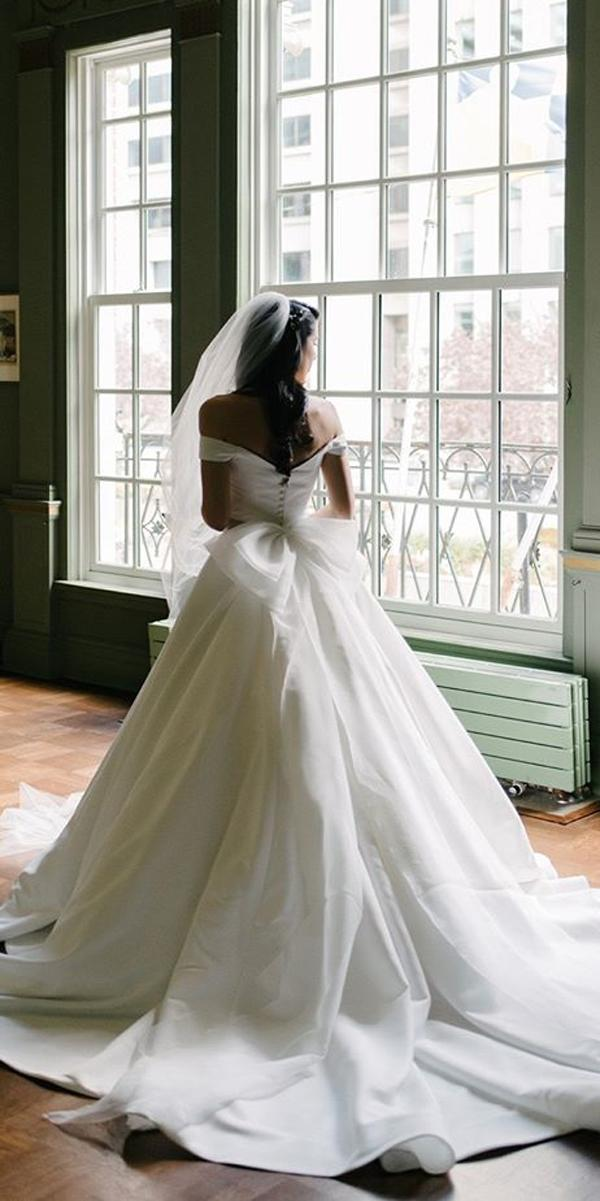 princess wedding dresses ball gown simple off the shoulder with back bow mango studios