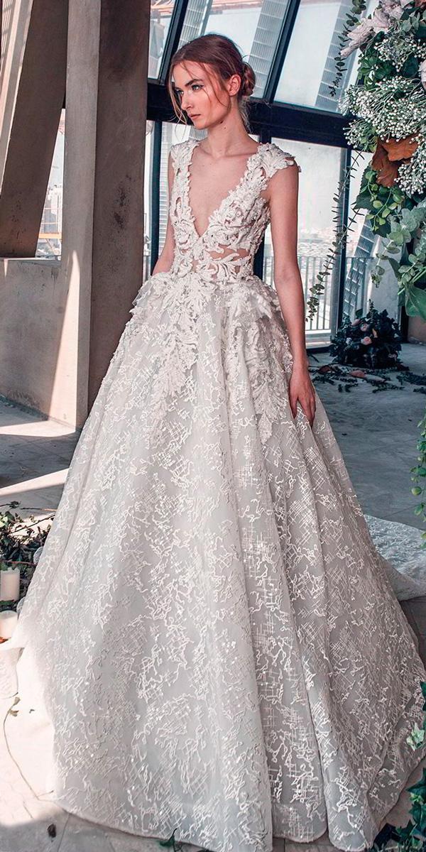 princess wedding dresses cap sleeves deep v neck full embellishment romantic a line a line tony ward