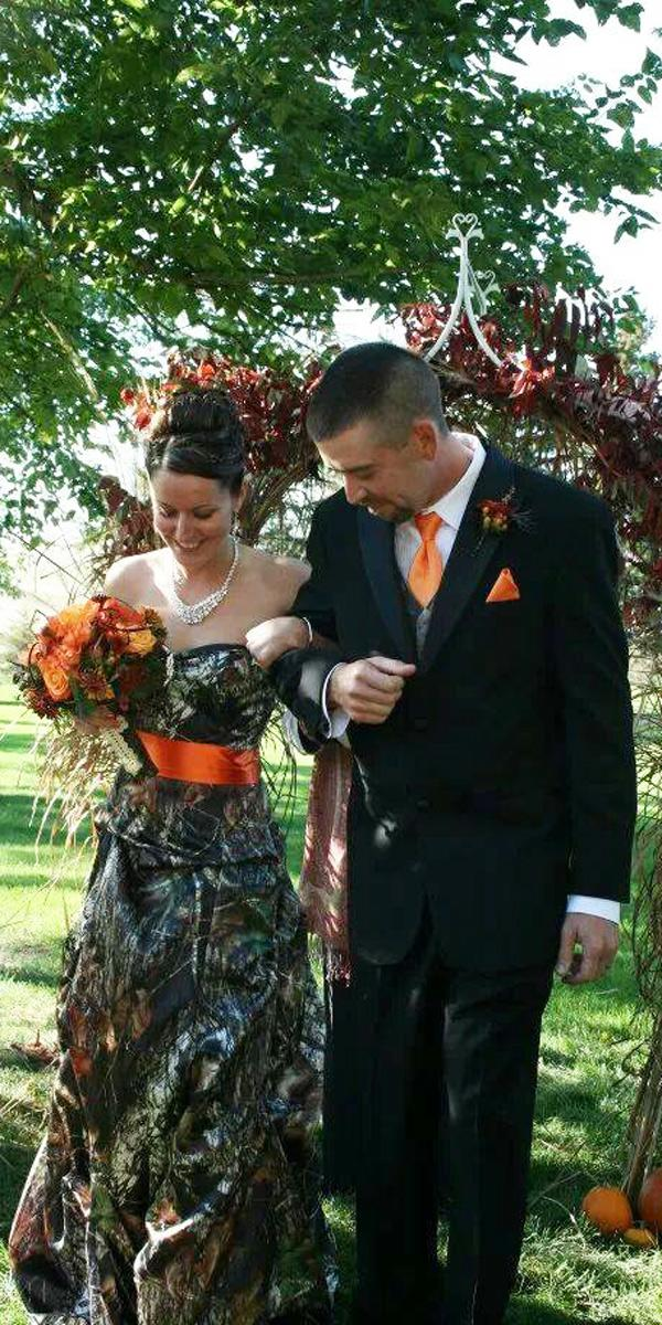 strapless sweetheart neck with orange ribbon country camo wedding dresses camo formal