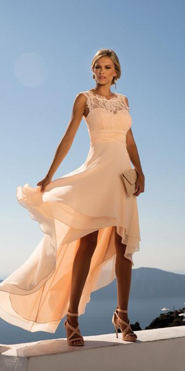 summer mother of the bride dresses high low lace neckline for beach linea raffaelli