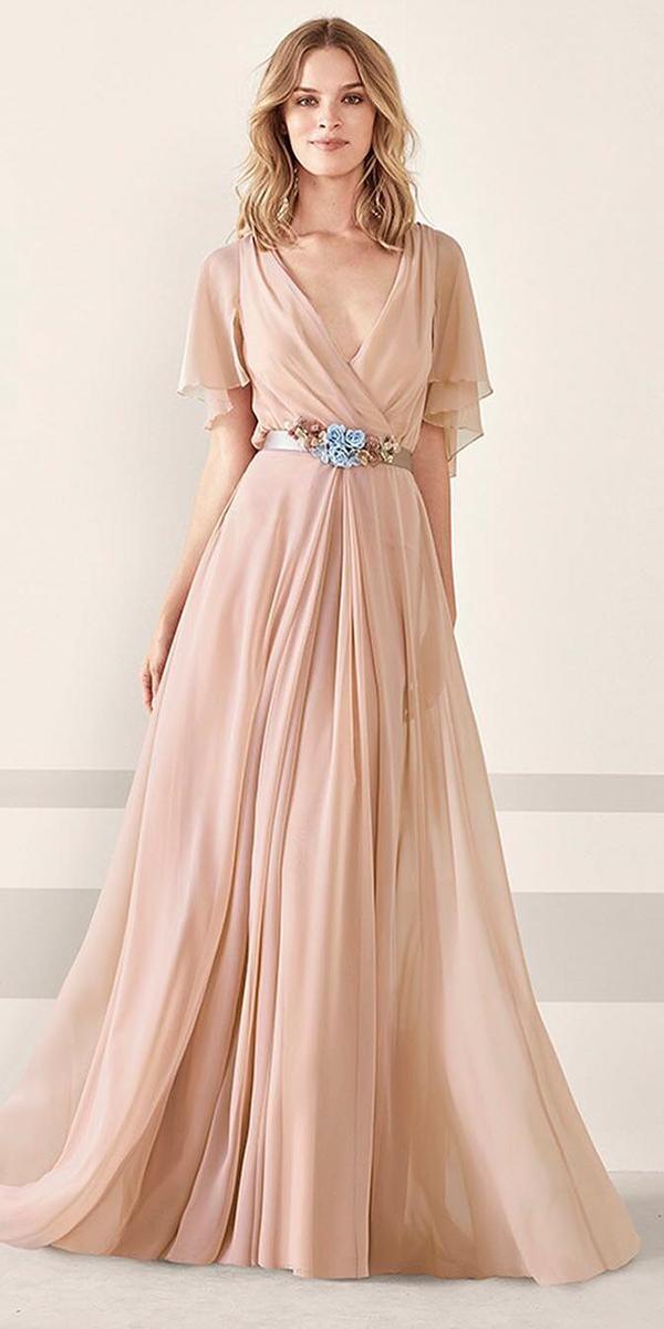 summer mother of the bride dresses long v neckline champagne pronovias