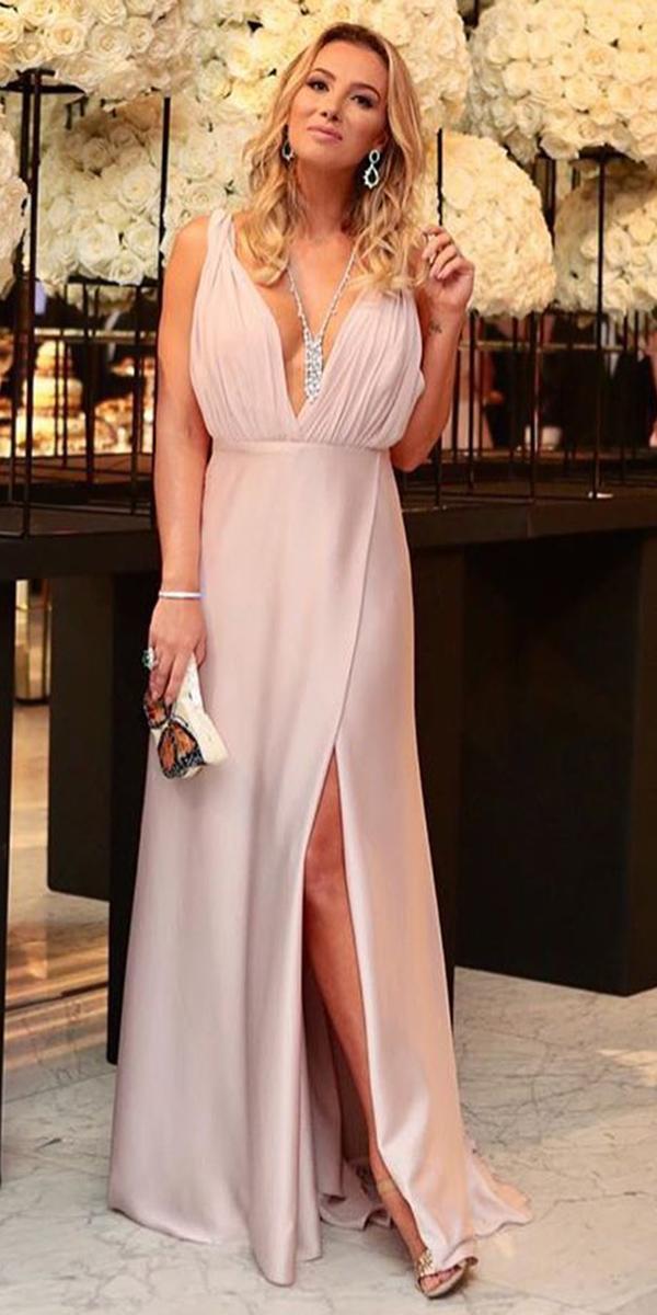 summer mother of the bride dresses long v neckline with slit pink for beach vestidos oficial