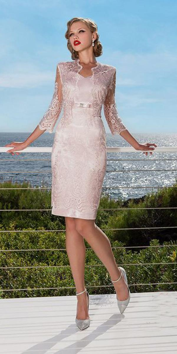 summer mother of the bride dresses short with lace jacket outdoor sonia pena