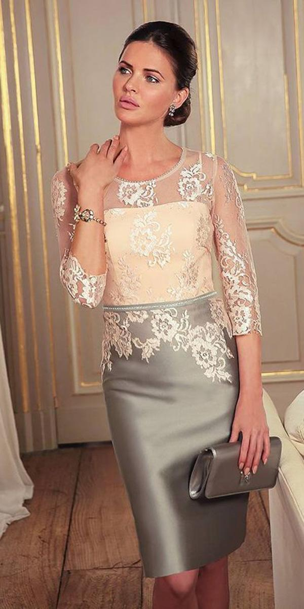 summer mother of the bride dresses short with sleeves lace line a raffaelli
