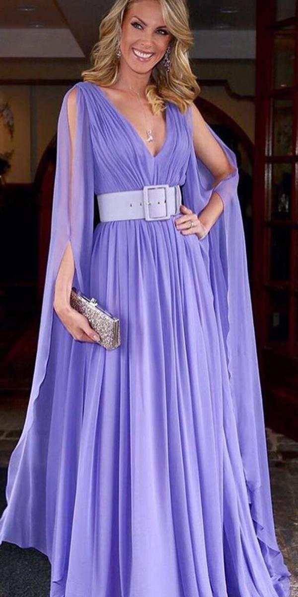 summer mother of the bride dresses v neckline long purple belt vestidos oficial