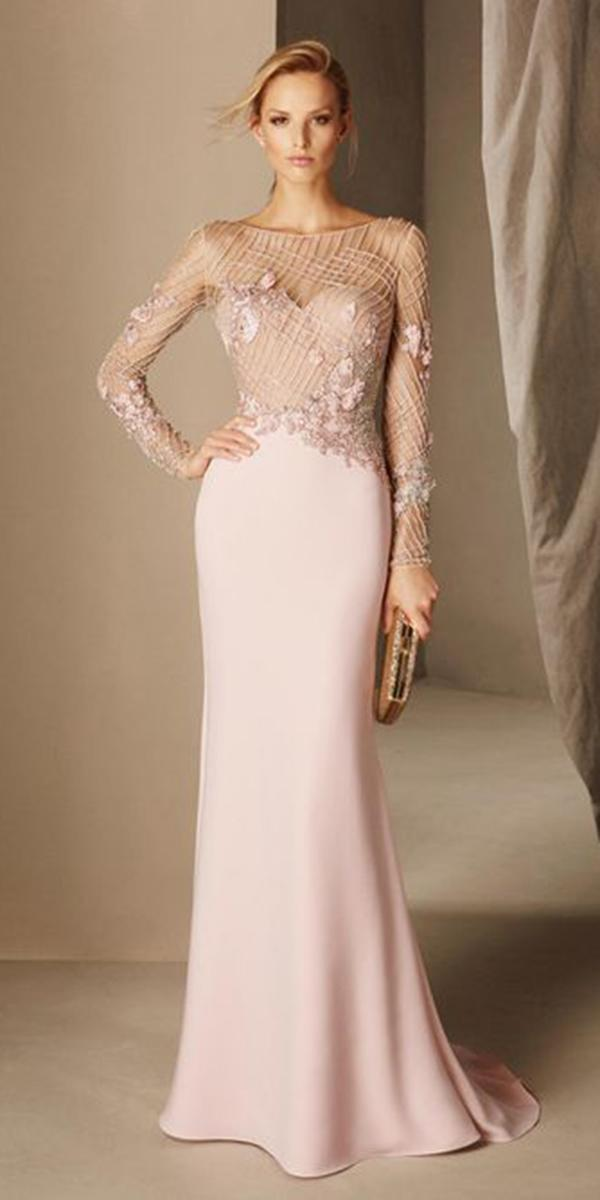 summer mother of the bride dresses with long sleeves illusion neckline beach style pronovias