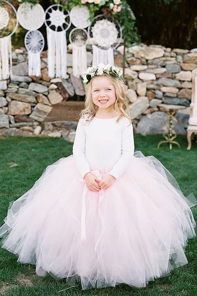 tutu flower girl dresses country pink tulle skirt