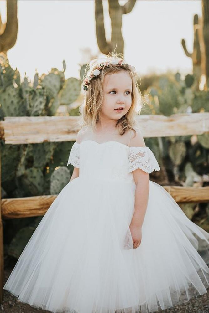 tutu flower girl dresses off the shoulder illusion neckline white