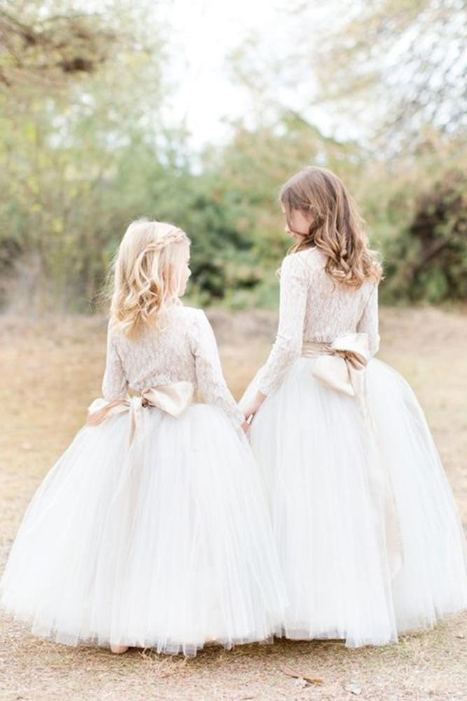 tutu flower girl dresses with long sleeves with tulle skirt amy and jordan