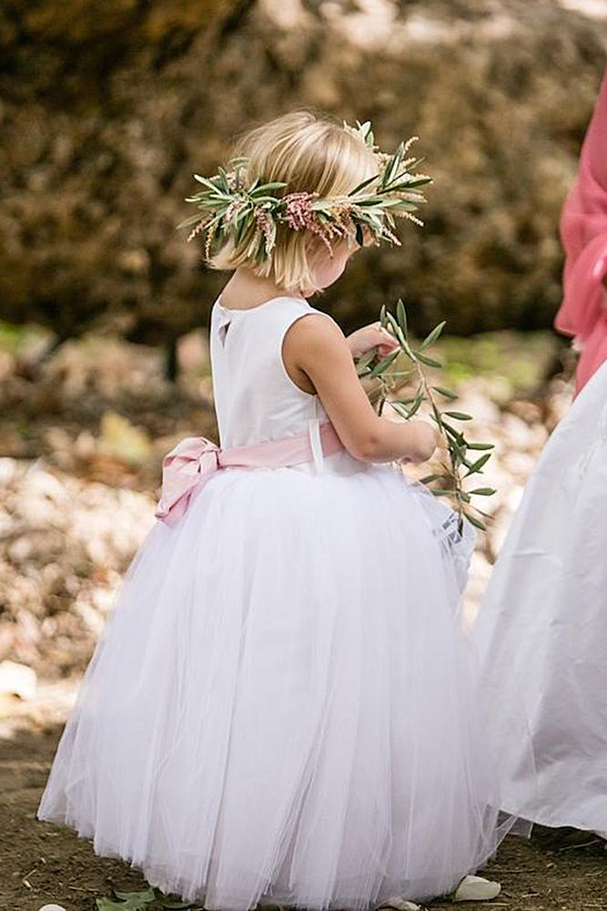 tutu flower girl dresses with pink bow rustic country