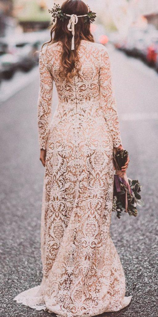vintage backless lace ivory boho wedding dresses with sleeves estela garro atelier