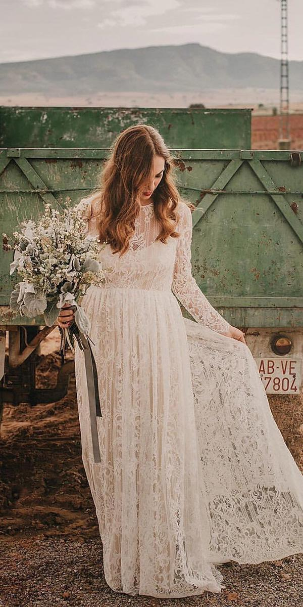 vintage lace wedding dresses a line with long sleeves barnyard immacle novias
