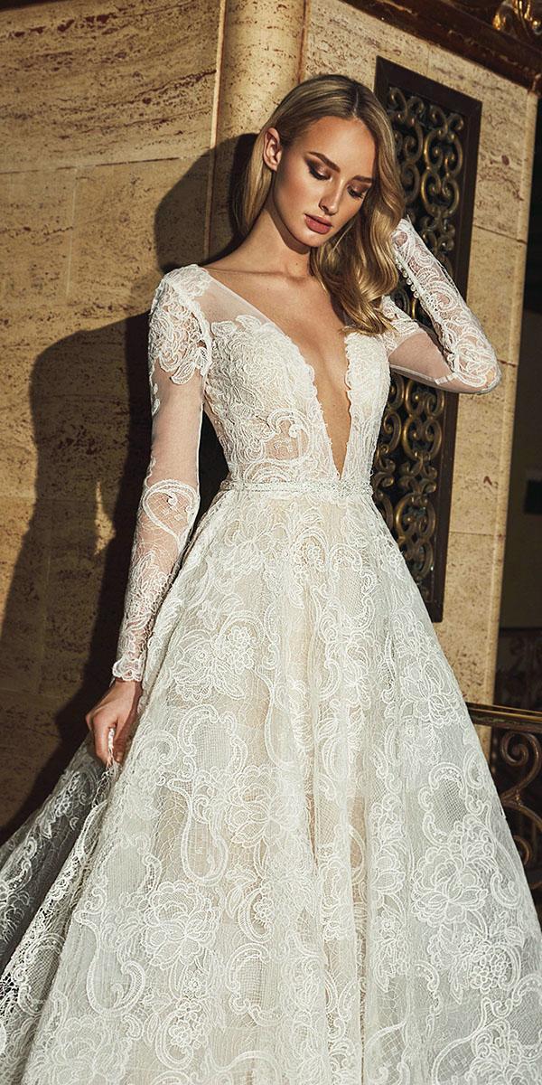 vintage lace wedding dresses a line with long sleeves deep v neckline casablanca