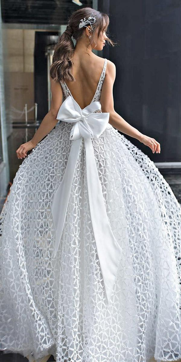 vintage lace wedding dresses ball gown v back with bow dimitrius dalia