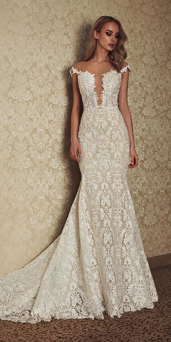 vintage lace wedding dresses mermaid illusion sexy neckline with cap sleeves casablanca