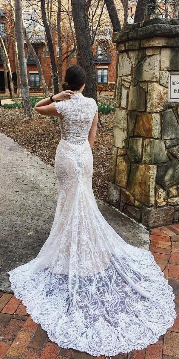 vintage lace wedding dresses mermaid with cap sleeves nigh neck callablanca