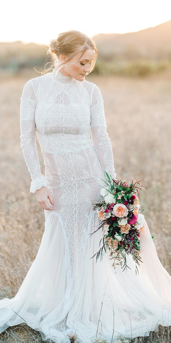 vintage lace wedding dresses sheath with long sleeves high neck country amy golding