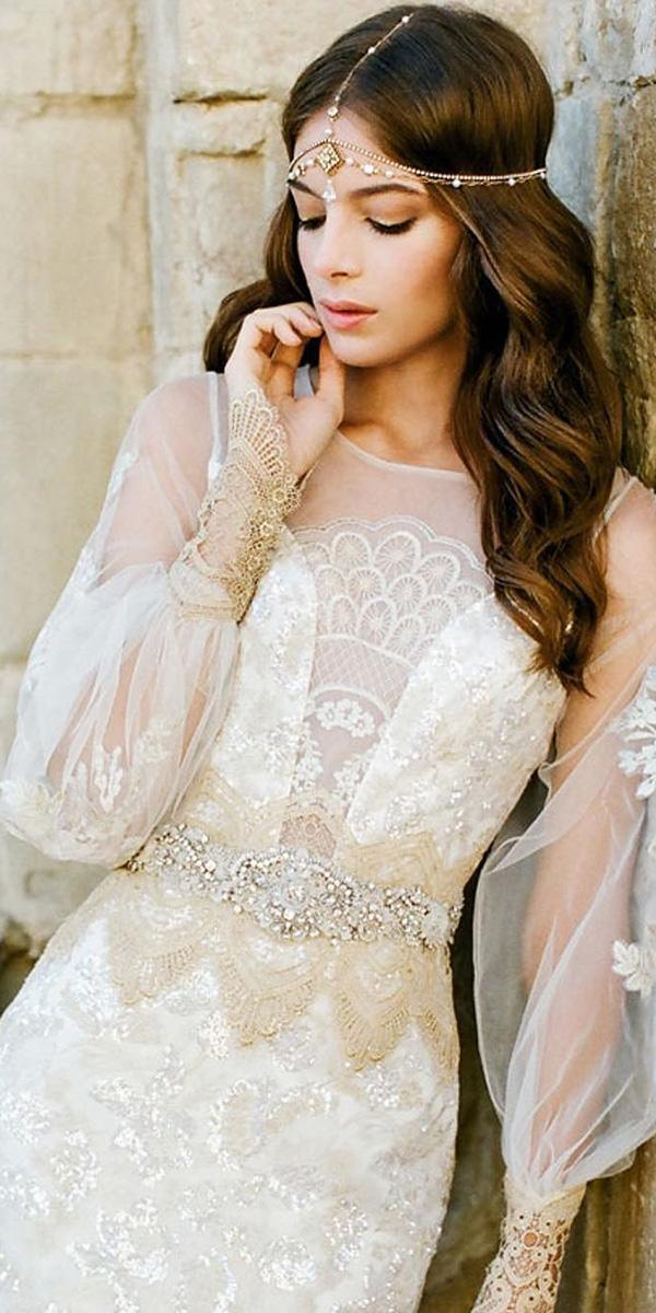 vintage lace wedding dresses with long sleeves beaded belt claire pettibone