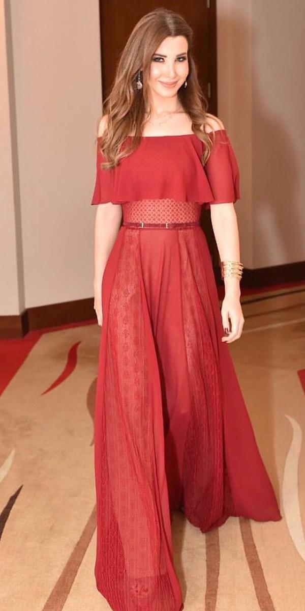 wedding guest designer dresses long portrait across red georges hobeika