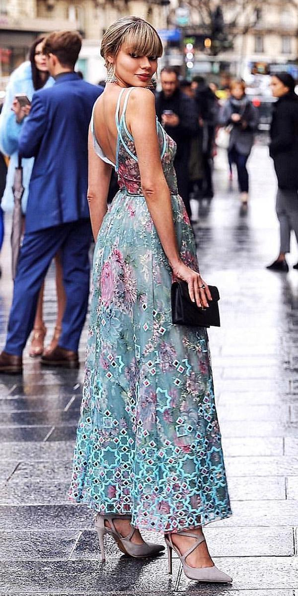 wedding guest designer dresses long with straps green georges hobeika