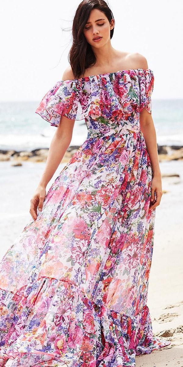 wedding guest designer dresses straight across long floral beach tadashi shoji