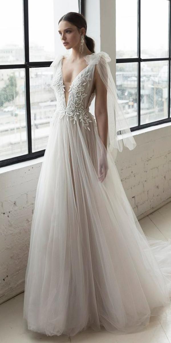 a line deep v neckline shoulder bows lace julie vino 2019 wedding dresses