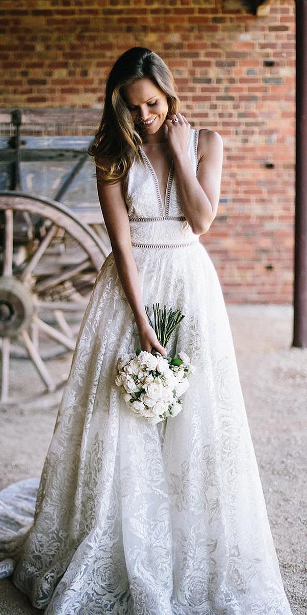 a line wedding dresses deep v neckline lace sleveless suzanne harward