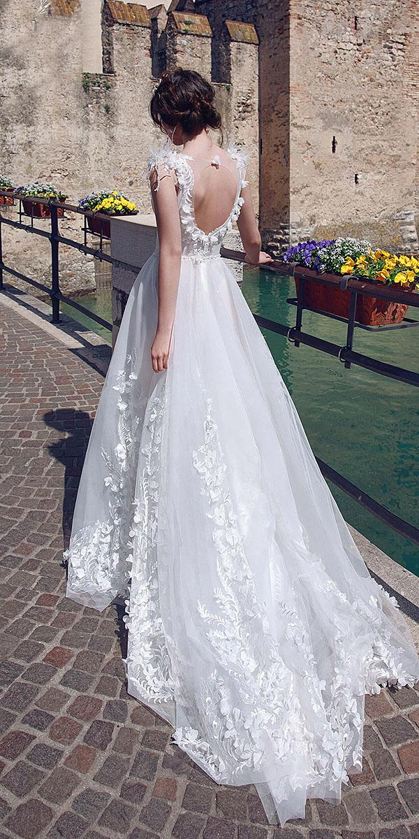 a line wedding dresses open back romantic with floral appliques armonia