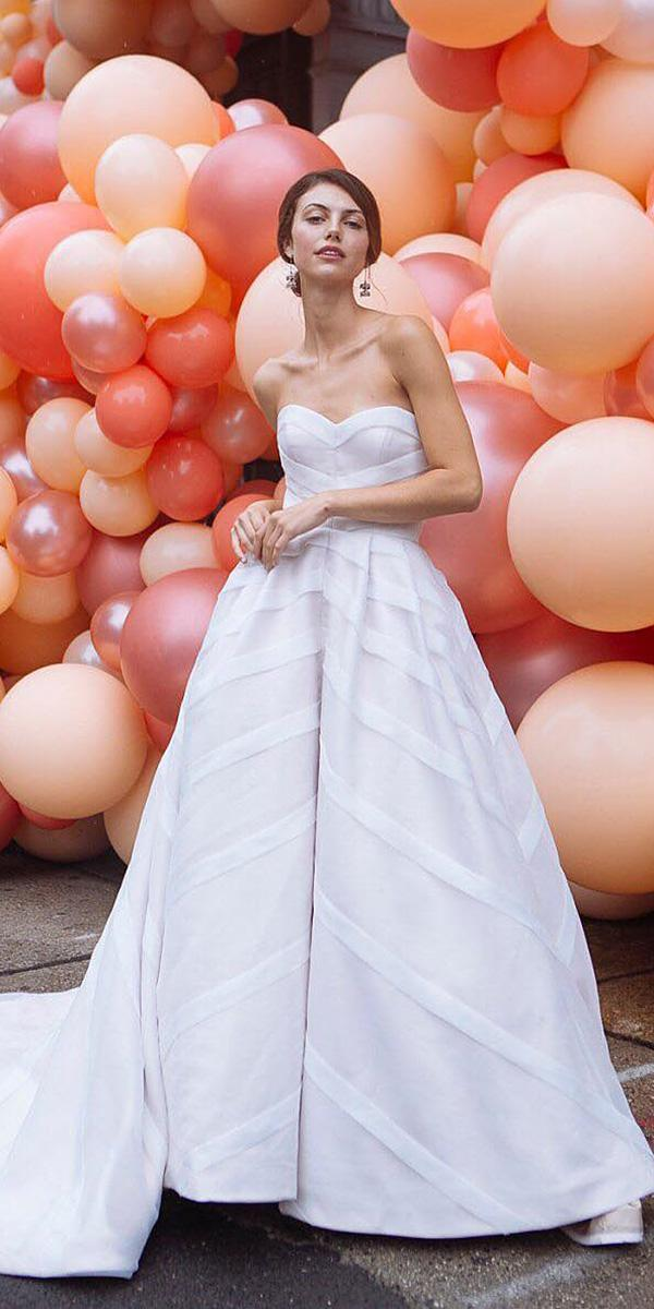 a line wedding dresses simple sweetheart strapless with train sara kerens