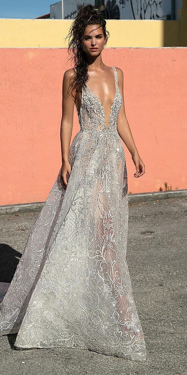a line wedding dresses with spaghetti straps silver lace beach berta