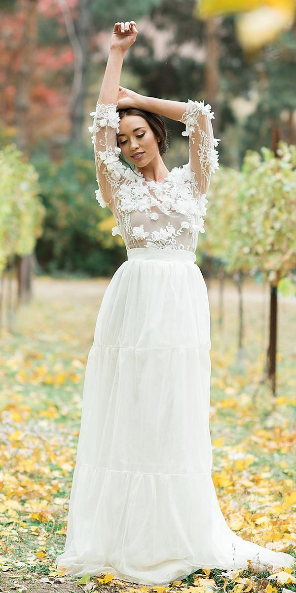 a line wedding dresses with three quote sleeves 3d floral romantic jnoelle design