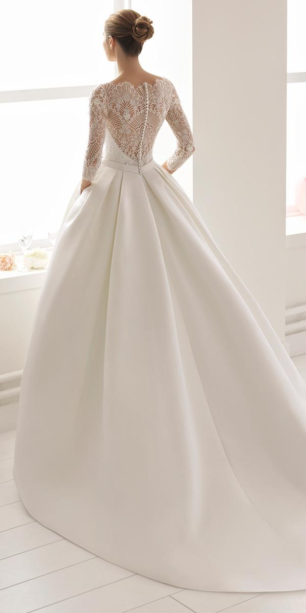 aire barcelona wedding dresses ball gown with three quote sleeves lace-2018