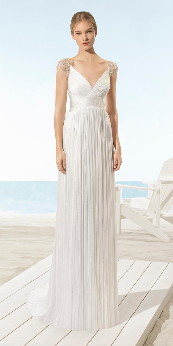 aire barcelona wedding dresses beach sheath with cap beaded sleeves v neckline 2018