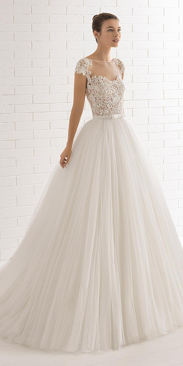 aire barcelona wedding dresses illusion neckline with cap sleeves lace 2018 modest