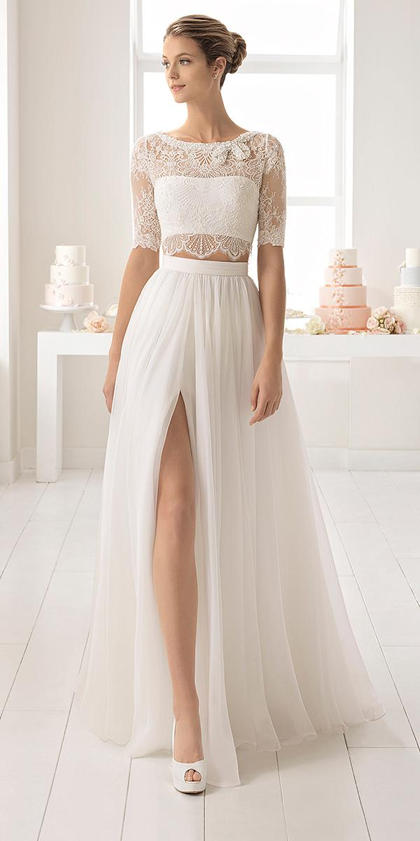 aire barcelona wedding dresses lace top with sleeves detached skirt 2018