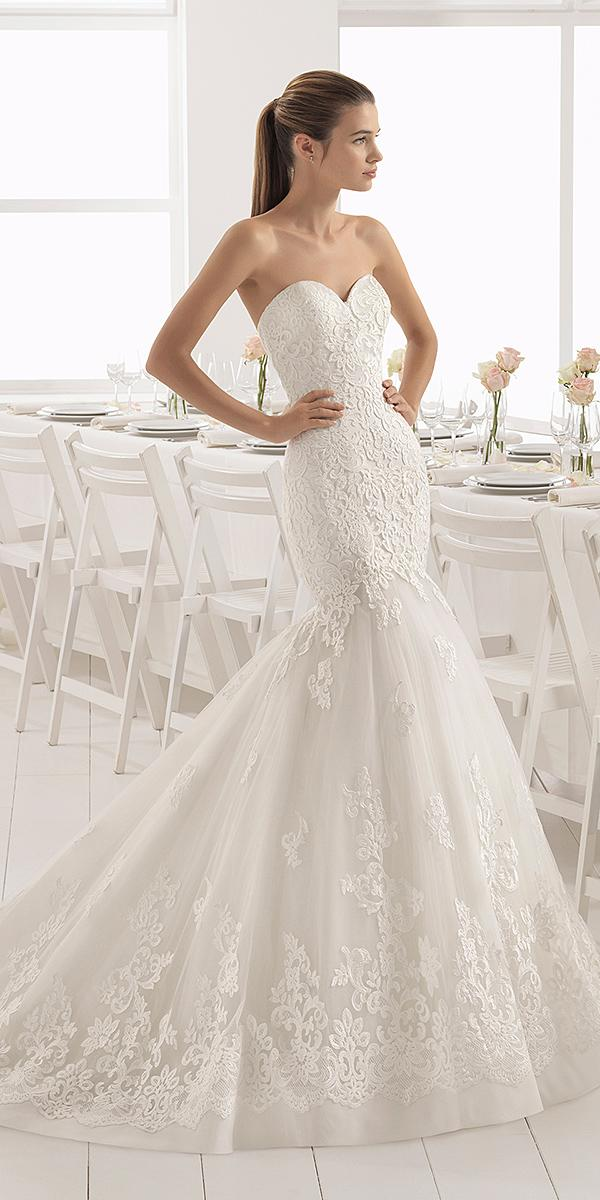 aire barcelona wedding dresses mermaid strapless lace sexy
