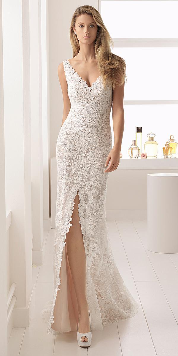 aire barcelona wedding dresses sheath v neckline full lace 2018