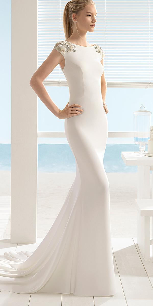 aire barcelona wedding dresses sheath with cap sleeves minimalist 2018