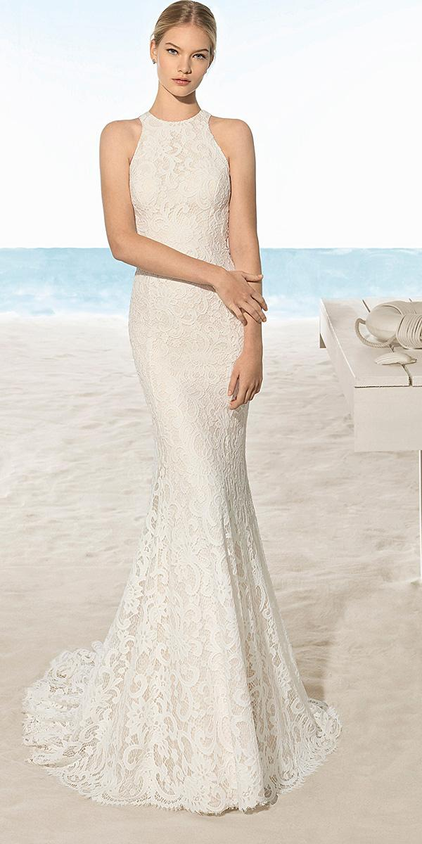 aire barcelona wedding dresses trumpet halter neckline lace 2018 beach