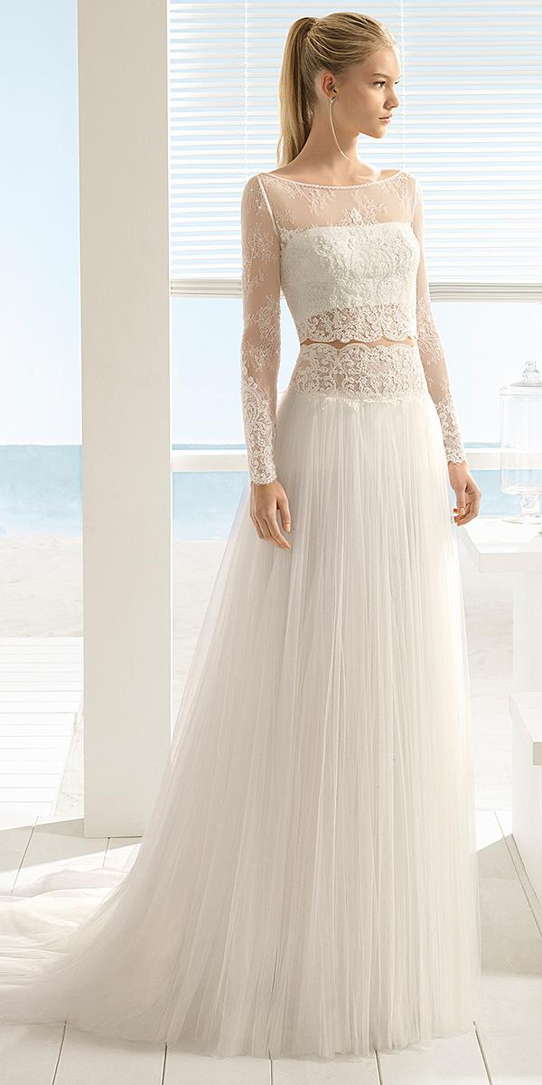aire barcelona wedding dresses with long sleeves lace top summer 2018